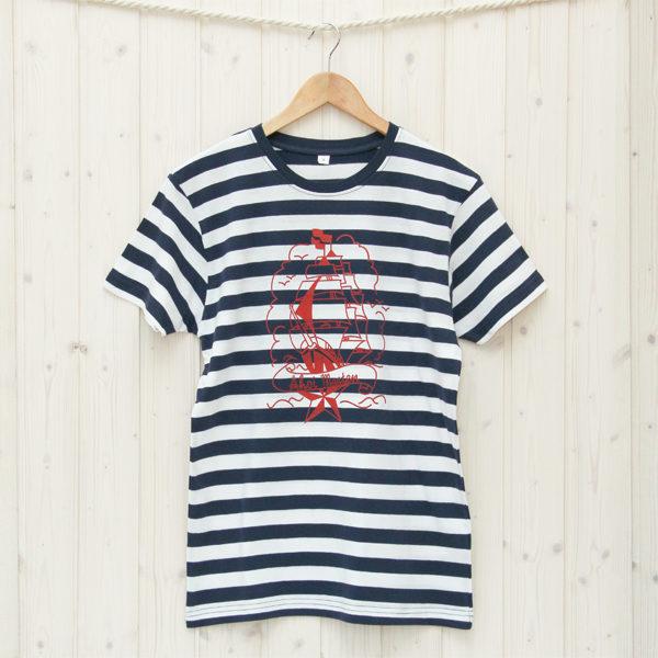 Herren T-Shirt Segelschiff blau/weiß
