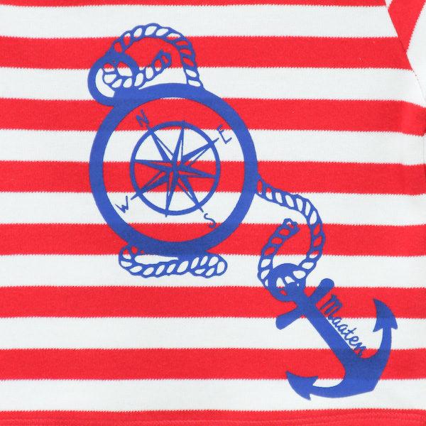 T-Shirt Kompass rot/weiß