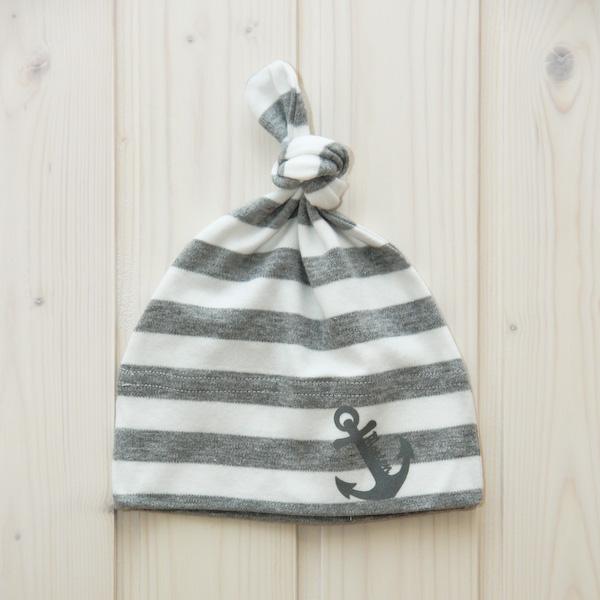 Knotenmütze Anker grau/weiß