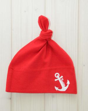 Knotenmütze Anker rot