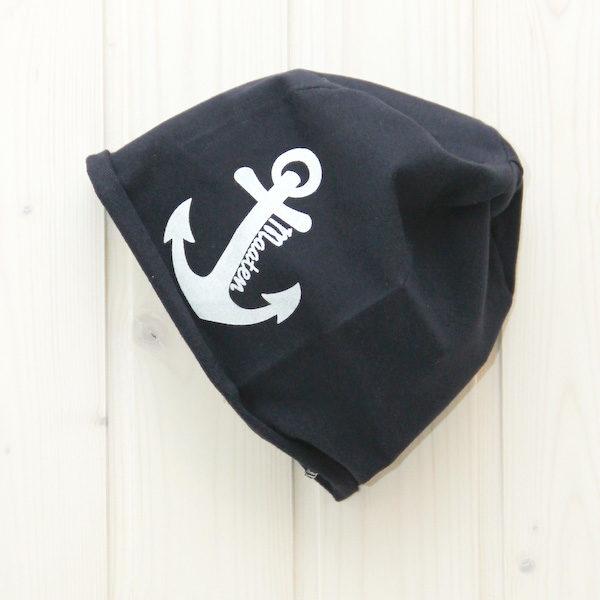 Beanie Mütze Anker marineblau