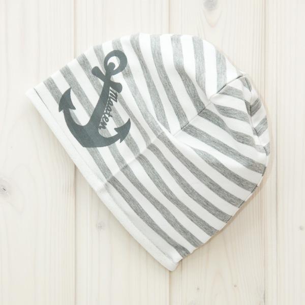 Beanie Mütze Anker grau/weiß