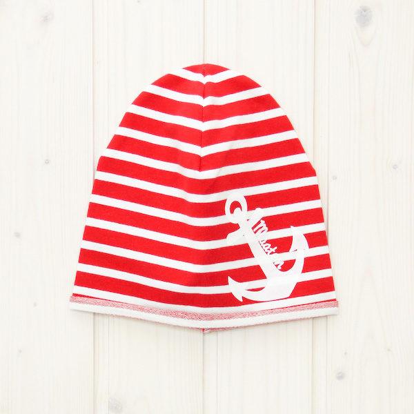 Beanie Mütze Anker rot/weiß