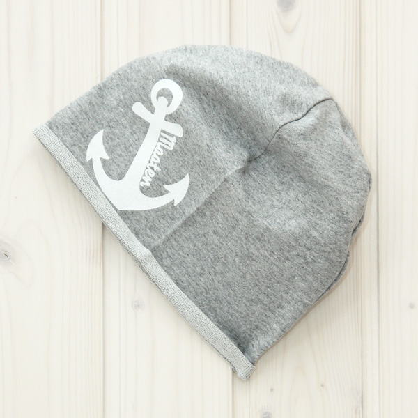 Beanie Mütze Anker grau
