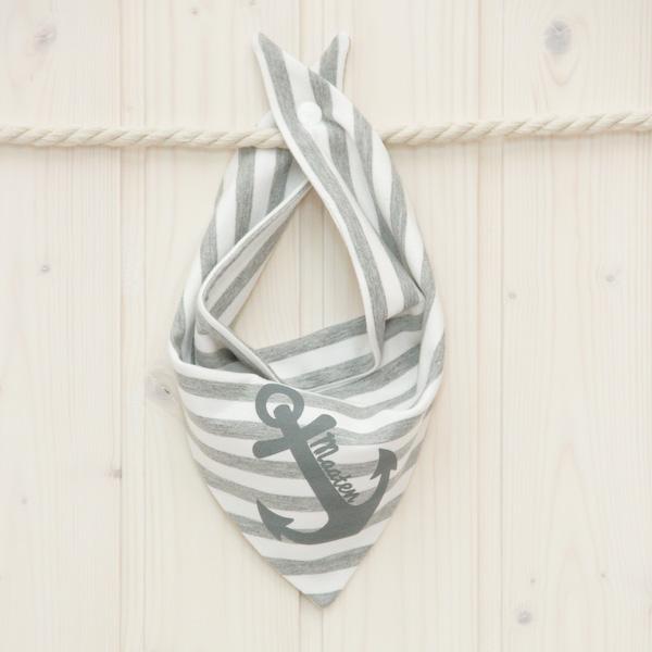 Halstuch Anker grau/weiß