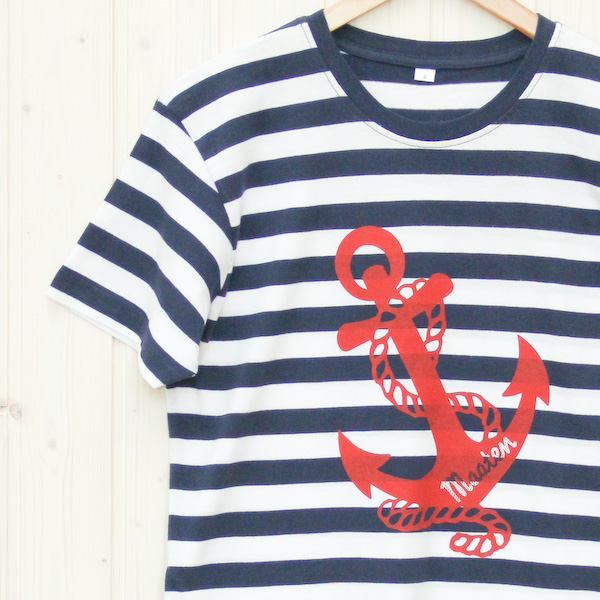 Herren T-Shirt Anker blau/weiß