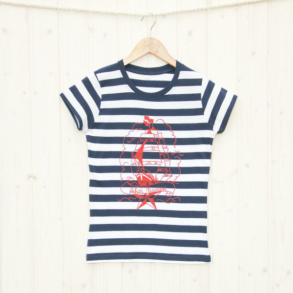 Frauen T-Shirt Segelschiff blau/weiß