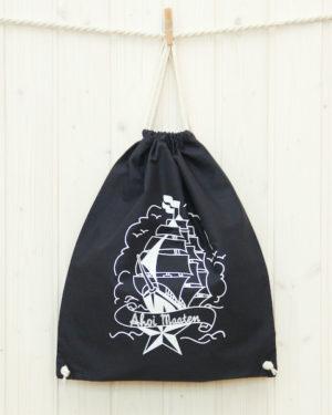 Turnbeutel Segelschiff marineblau